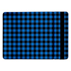 Lumberjack Fabric Pattern Blue Black Samsung Galaxy Tab Pro 12 2  Flip Case by EDDArt