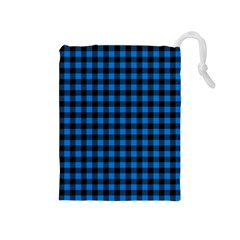Lumberjack Fabric Pattern Blue Black Drawstring Pouches (medium)  by EDDArt