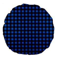 Lumberjack Fabric Pattern Blue Black Large 18  Premium Flano Round Cushions