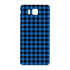 Lumberjack Fabric Pattern Blue Black Samsung Galaxy Alpha Hardshell Back Case by EDDArt