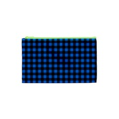 Lumberjack Fabric Pattern Blue Black Cosmetic Bag (xs) by EDDArt