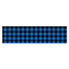 Lumberjack Fabric Pattern Blue Black Satin Scarf (oblong) by EDDArt
