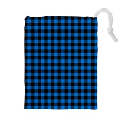 Lumberjack Fabric Pattern Blue Black Drawstring Pouches (extra Large) by EDDArt