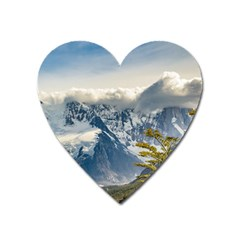 Snowy Andes Mountains, El Chalten Argentina Heart Magnet by dflcprints