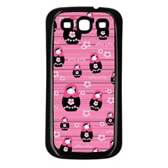 Matryoshka Doll Pattern Samsung Galaxy S3 Back Case (black) by Valentinaart