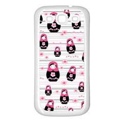 Matryoshka Doll Pattern Samsung Galaxy S3 Back Case (white) by Valentinaart