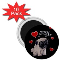 Love Pugs 1 75  Magnets (10 Pack)  by Valentinaart