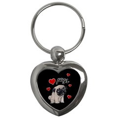 Love Pugs Key Chains (heart)  by Valentinaart