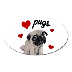 Love Pugs Oval Magnet by Valentinaart