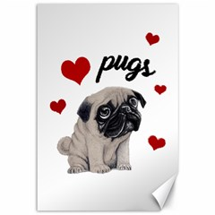 Love Pugs Canvas 12  X 18   by Valentinaart