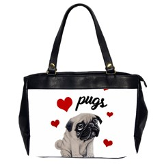 Love Pugs Office Handbags (2 Sides)  by Valentinaart