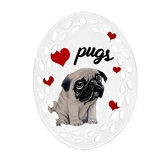 Love Pugs Oval Filigree Ornament (two Sides) by Valentinaart