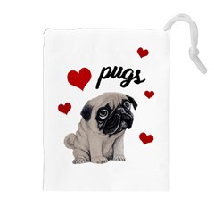 Love Pugs Drawstring Pouches (extra Large) by Valentinaart