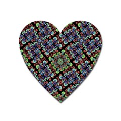 Colorful Floral Collage Pattern Heart Magnet by dflcprints