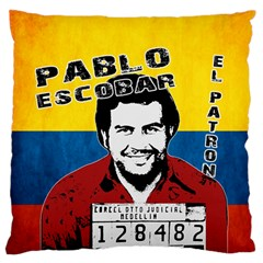 Pablo Escobar Large Flano Cushion Case (one Side) by Valentinaart