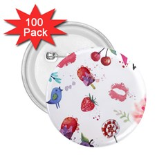 Hand Painted Summer Background  2 25  Buttons (100 Pack)