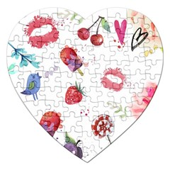 Hand Painted Summer Background  Jigsaw Puzzle (heart) by TastefulDesigns