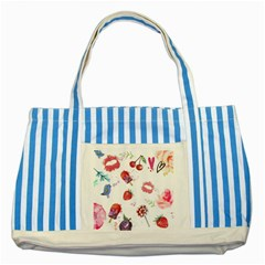 Hand Painted Summer Background  Striped Blue Tote Bag by TastefulDesigns