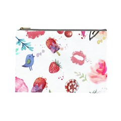 Hand Painted Summer Background  Cosmetic Bag (large)  by TastefulDesigns