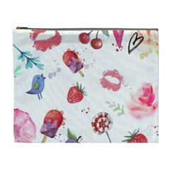 Hand Painted Summer Background  Cosmetic Bag (xl) by TastefulDesigns