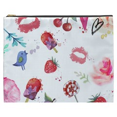 Hand Painted Summer Background  Cosmetic Bag (xxxl)  by TastefulDesigns