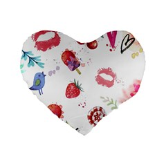 Hand Painted Summer Background  Standard 16  Premium Heart Shape Cushions by TastefulDesigns