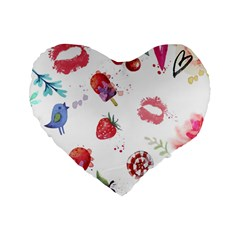 Hand Painted Summer Background  Standard 16  Premium Flano Heart Shape Cushions by TastefulDesigns