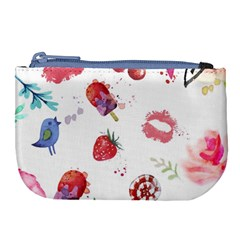 Hand Painted Summer Background  Large Coin Purse