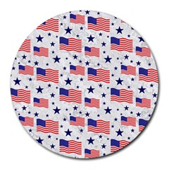 Flag Of The Usa Pattern Round Mousepads by EDDArt