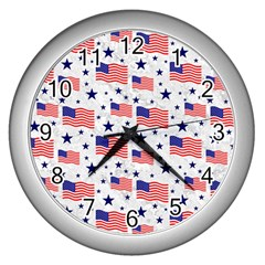 Flag Of The Usa Pattern Wall Clocks (silver)  by EDDArt