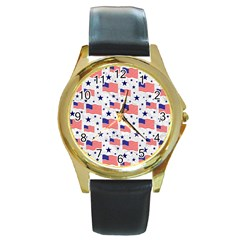 Flag Of The Usa Pattern Round Gold Metal Watch by EDDArt