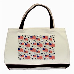 Flag Of The Usa Pattern Basic Tote Bag by EDDArt