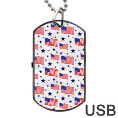 Flag Of The Usa Pattern Dog Tag Usb Flash (two Sides) by EDDArt