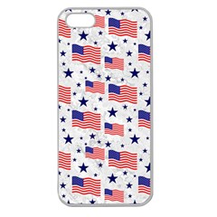 Flag Of The Usa Pattern Apple Seamless Iphone 5 Case (clear) by EDDArt