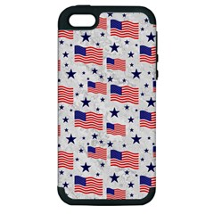 Flag Of The Usa Pattern Apple Iphone 5 Hardshell Case (pc+silicone) by EDDArt