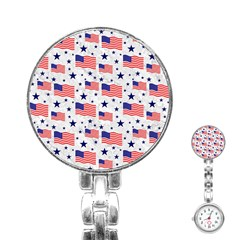 Flag Of The Usa Pattern Stainless Steel Nurses Watch by EDDArt
