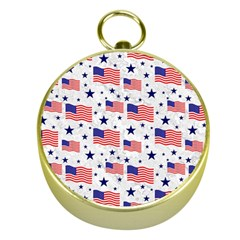 Flag Of The Usa Pattern Gold Compasses by EDDArt