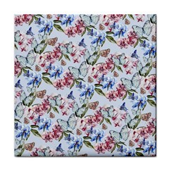 Watercolor Flowers Butterflies Pattern Blue Red Tile Coasters by EDDArt