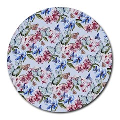 Watercolor Flowers Butterflies Pattern Blue Red Round Mousepads by EDDArt