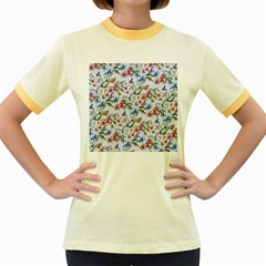 Watercolor Flowers Butterflies Pattern Blue Red Women s Fitted Ringer T Shirts by EDDArt