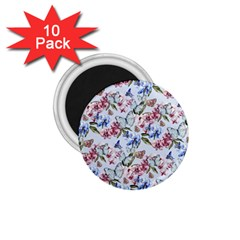Watercolor Flowers Butterflies Pattern Blue Red 1 75  Magnets (10 Pack)  by EDDArt