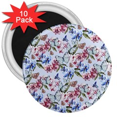 Watercolor Flowers Butterflies Pattern Blue Red 3  Magnets (10 Pack)  by EDDArt