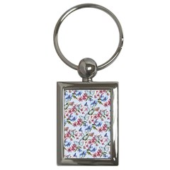 Watercolor Flowers Butterflies Pattern Blue Red Key Chains (rectangle)  by EDDArt