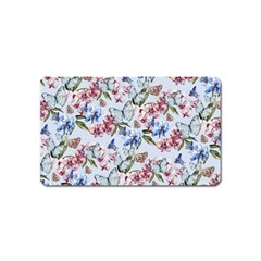 Watercolor Flowers Butterflies Pattern Blue Red Magnet (name Card) by EDDArt