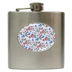 Watercolor Flowers Butterflies Pattern Blue Red Hip Flask (6 Oz) by EDDArt