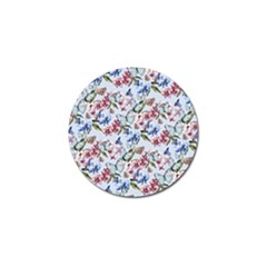Watercolor Flowers Butterflies Pattern Blue Red Golf Ball Marker (10 Pack) by EDDArt