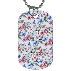 Watercolor Flowers Butterflies Pattern Blue Red Dog Tag (two Sides) by EDDArt