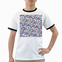 Watercolor Flowers Butterflies Pattern Blue Red Ringer T Shirts by EDDArt