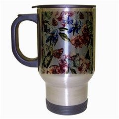 Watercolor Flowers Butterflies Pattern Blue Red Travel Mug (silver Gray) by EDDArt