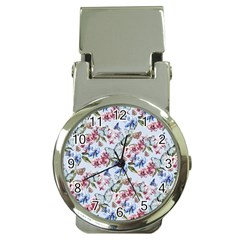 Watercolor Flowers Butterflies Pattern Blue Red Money Clip Watches by EDDArt